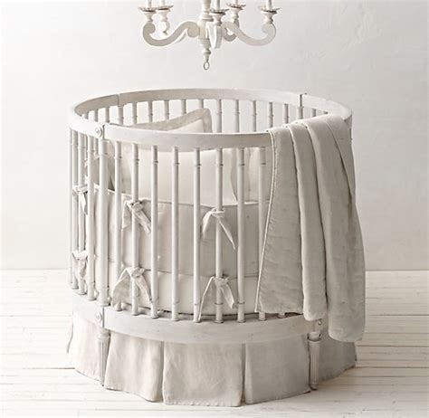 circle baby bed washed organic linen round crib skirt