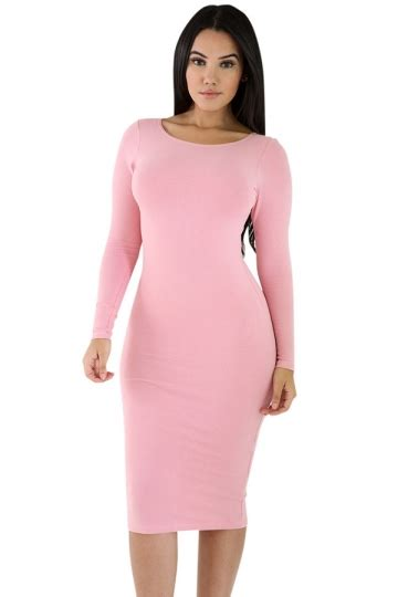 Pink Plain Dress womens plain sleeve midi bodycon dress pink pink
