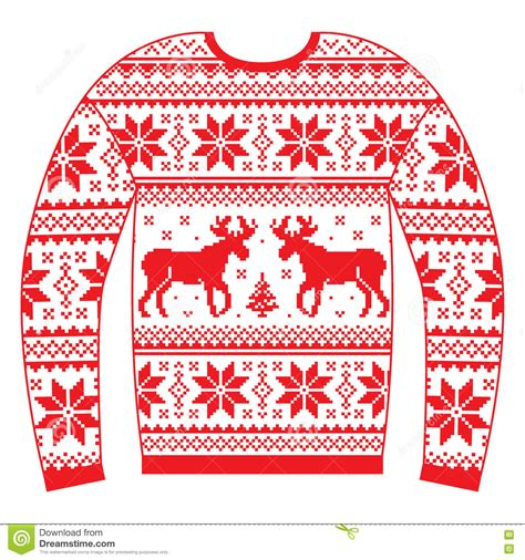 christmas jumper pattern vector ugly christmas jumper or sweater with reindeer and