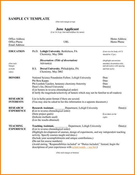 exle of cv resume for curriculum vitae sles pdf template resume builder