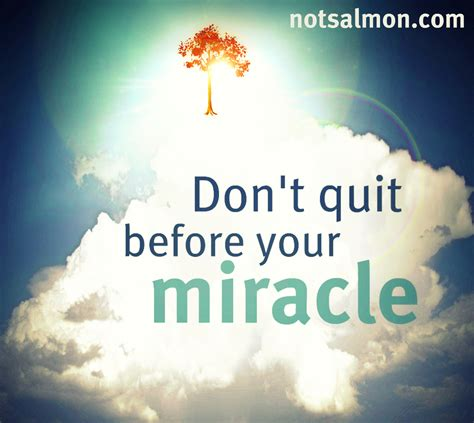 The Miracle Of Free Happiness Tip Don T Quit Before Your Miracle Salmansohn