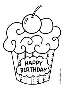 birthday color cake happy birthday coloring pages muffin coloring