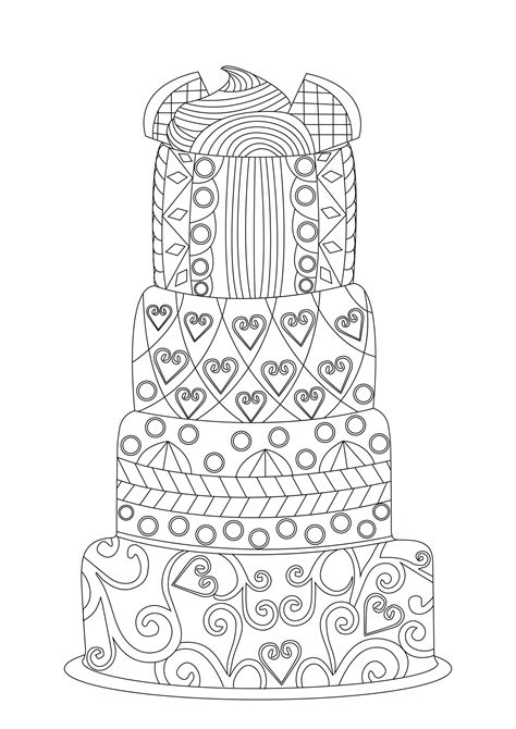 Big lacy cake - Cupcakes Adult Coloring Pages