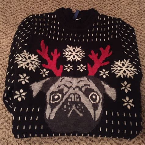 pug jumper h m 74 divided sweaters h m divided pug sweater small from s