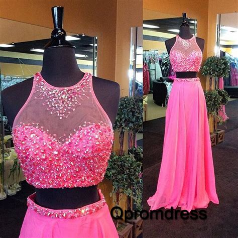 Handmade Prom Dress - pink two pieces beaded handmade formal prom dress