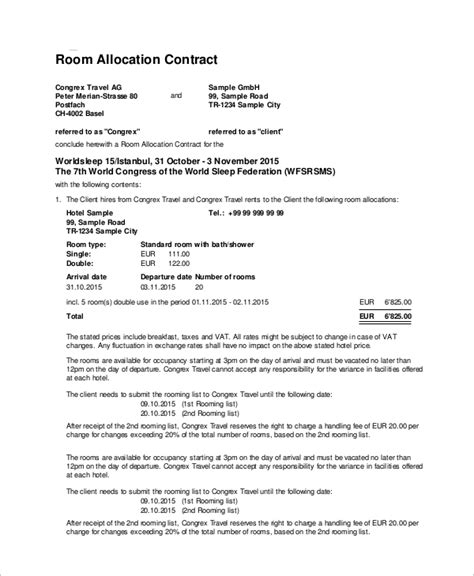 23 Sle Contracts Sle Templates Hotel Meeting Room Contract Template