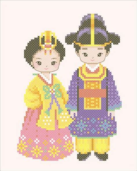 Pattern Cute Korea | korean stitching pattern cute cartoon couple in hanbok