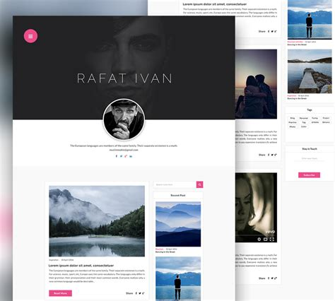 download free personal blog website template free psd
