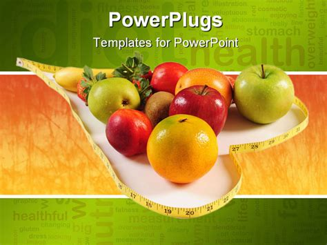 powerpoint templates free download healthy food variety of tropical fruits a concept of healthy food