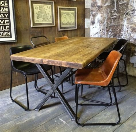 Vintage Industrial Dining Room Table X Frame Vintage Industrial Rustic Reclaimed Plank Top Dining Table Uk Made Vintage