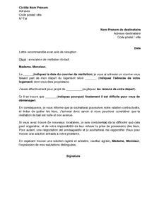 Résiliation De Bail Modele Lettre Gratuit Exemple Gratuit De Lettre Annulation Demande R 233 Siliation Bail