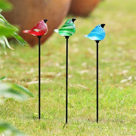 Garden Stakes by Glass Bird Garden Stakes Set Of 3 Spi San Pacific