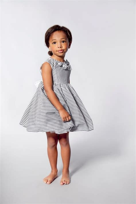 Stripes Flower Sabrina Dress flower dress in grey and white stripes flowers