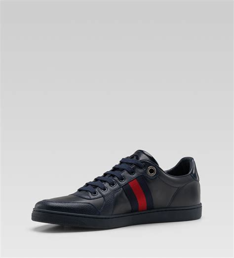 gucci blue leather lace up sneakers sneaker cabinet