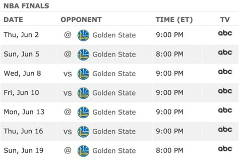 Mba Playoff Tv Schedule by Image Gallery Nba Finals Schedule 2016