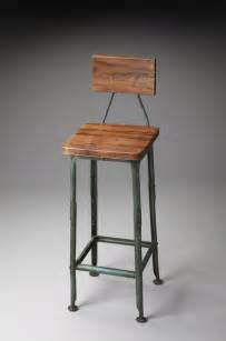 Wooden Kitchen Bar Stools With Backs Metalworks Bar Stool With Wooden Seat And Back Rustic