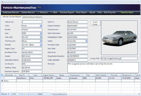 Homeowner Records Vehicle Maintenancetrac Free And Software