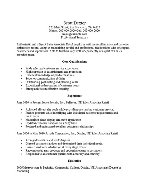 Resume Exles For Retail Sales Associate by Retail Sales Associate Resume Ingyenoltoztetosjatekok