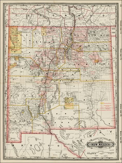 railroad  county map   mexico barry lawrence ruderman antique maps