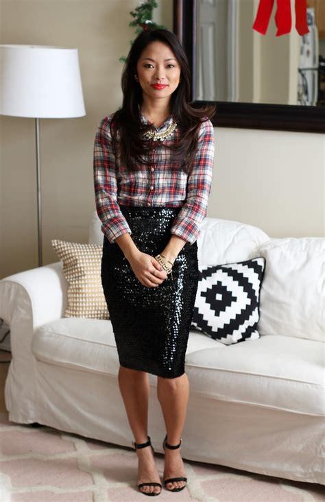 Skirt Lancip Black tartan sequins the view from 5 ft 2