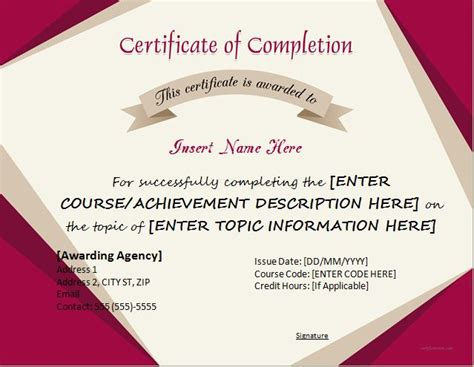certificates  completion templates  microsoft word