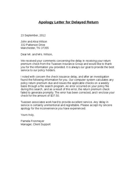 Complaint Letter On Late Delivery Apology Letter For Delayed Return Hashdoc Apology Letters To Guests