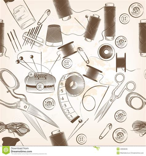 sewing pattern wallpaper fashion seamless pattern with threads needles and other