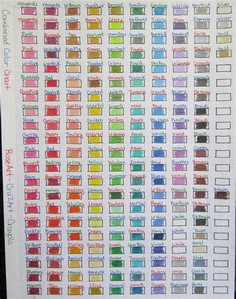 crayola color chart combined color chart crazart crayola by