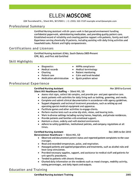 Certified Assistant Resume by Best Certified Nursing Assistant Resume Exle Livecareer