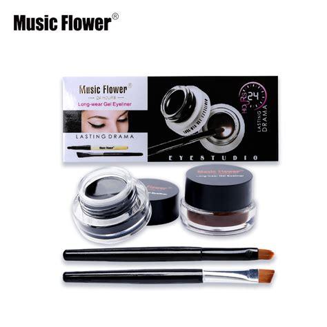 Termurah Flower 2 In 1 Eyebrow Eyeliner flower best 2 in 1 brown black eyeliner gel make up water proof eye liner kit eye makeup