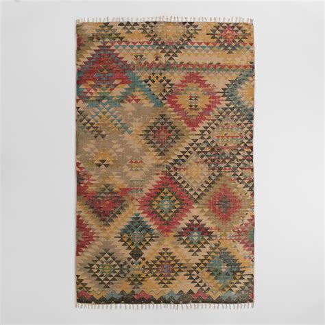 rug world 5 x8 boho print jute kilim area rug world market