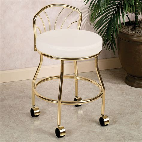 Bathroom Vanity Stools With Wheels Gold Metal Bathroom Vanity Chair On Wheels With Low Back And Leather Seat Decofurnish