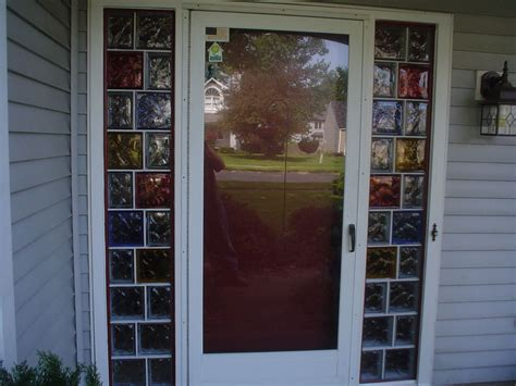 Coloured Glass Doors Decorative Colored Glass Blocks Create A Welcoming Entryway To A Home Coloredglassblock