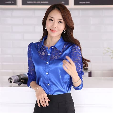 New Blouse Spandek Ceruty Korea 2015 new fall womens lace shirt slim silk blouse korean primer shirt blouse