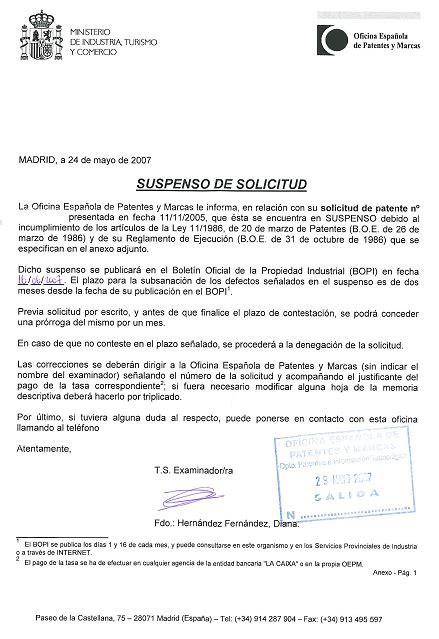 Carta Formal Solicitud De Apoyo suspensos formales en solicitudes de patente
