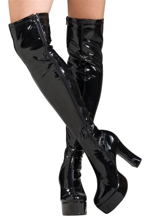 thigh high black boots costume craze