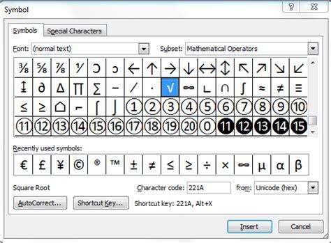simbolo raiz cuadrada en word c 243 mo hacer el s 237 mbolo de la ra 237 z cuadrada en la