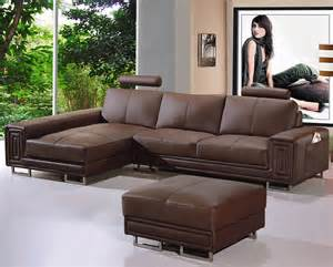 deco in canape cuir d angle marron tetieres relax