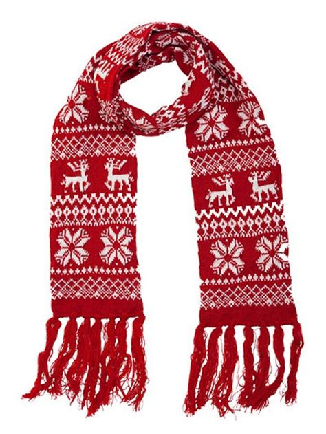 Superior Christmas Purses And Bags #2: Reindeer_snowflake_knit_winter_christmas_scarf_wholesale_red_5.jpg