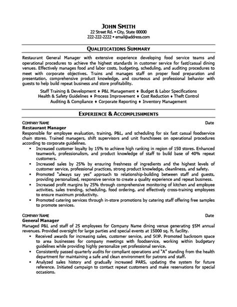 restaurant manager resume sle 28 images sle resume for restaurant 28 images sle cover letter
