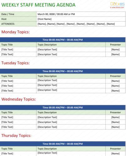 staff meeting agenda template write an effective agenda