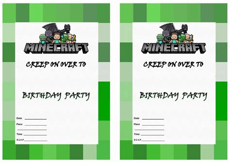 minecraft invitation template minecraft birthday invites gangcraft net