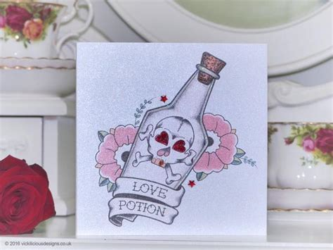 Handmade Valentine's Day Card   Love Potion tattoo