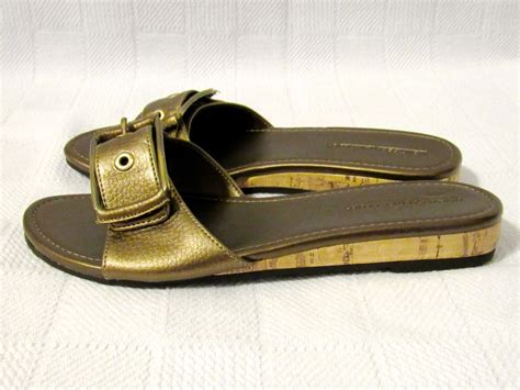 sandals club mobay montego bay club solid bronze faux leather slides slip on