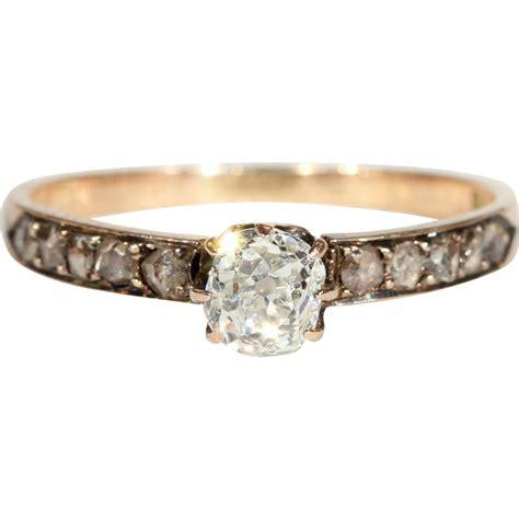 Antique Diamond Engagement Ring, Dutch c. 1875 in 14k Gold