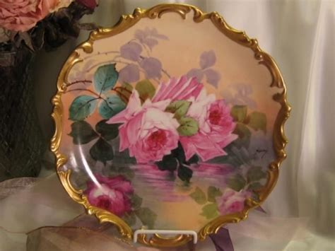 antique porcelain l with roses classic antique hand painted limoges roses plaque french