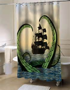 beautiful Octopus Bathroom Accessories #1: Cool-Nautical-Shower-Curtain-Octopus-vs.-Pirate-Ship-custom-shower-curtain-curtains-bathroom-idea1.jpg