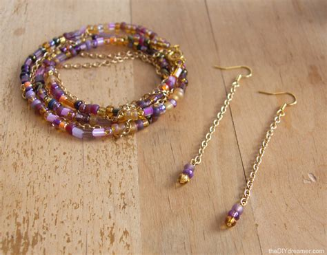 chain and bead bracelet chain and bead earrings tutorial the d i y dreamer