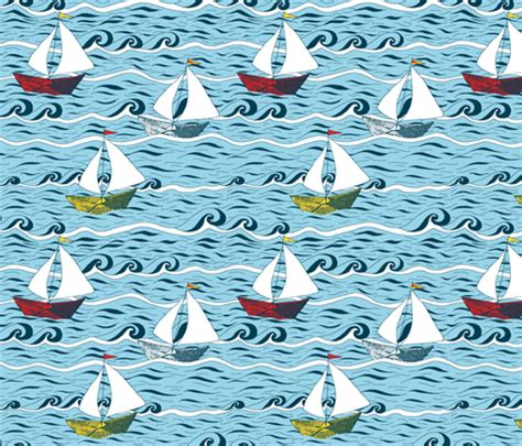 yacht pattern fabric newspaper boat sailing fabric martaharvey spoonflower