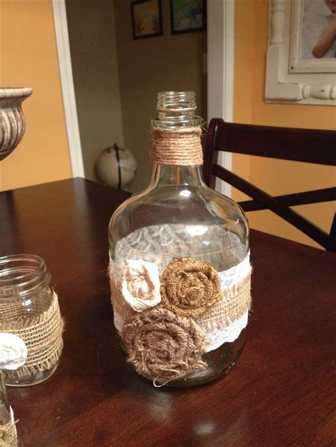 DIY rustic wedding decor with twine, lace and burlap. Easy